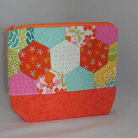 One Of A Kind Multi-Colored Zipper Pouch Made With Handsewn Hexies