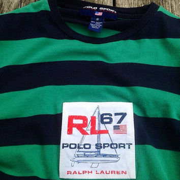 Vintage Ralph Lauren Polo Sport Striped Shirt Small Green RL67 sweater crewneck sweatshirt