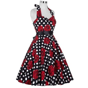 Vintage Rockabilly Dresses Women 50S 60s Party Floral Print Dress Pinup Big Swing Strapless Audrey Hepburn Dress 2017 Vestidos