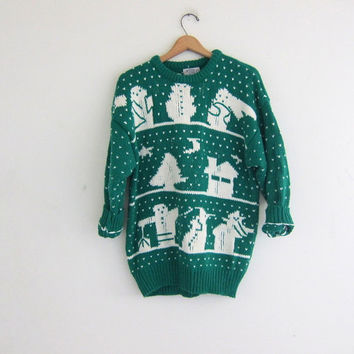 vintage ugly Christmas sweatshirt  // tacky christmas sweater // holiday party sweater in green and white size L