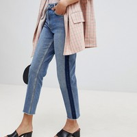 Miss Selfridge Straight High Rise Patch Jeans at asos.com