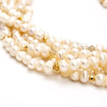 Multi-Strand Pearl Necklace with Gold and Swarovski Crystal Accents