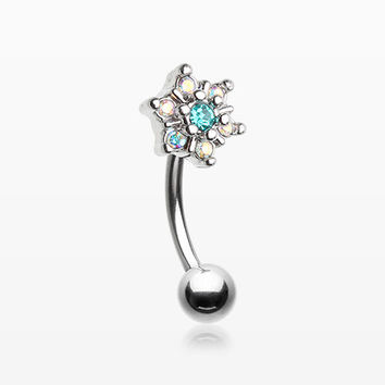 Brilliant Sparkle Spring Flower Eyebrow Curved Barbell Ring