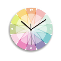 Clock soft pastel rainbow colorful geometric round wall clock living room decor