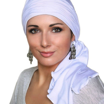 White Jersey Turban, Head Wrap, Alopecia Scarf, Chemo Hat and Scarf Set