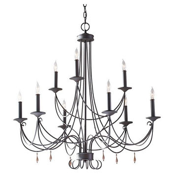 Murray Feiss Aliya 9 Light Rustic Iron Chandelier - F2748/6+3RI