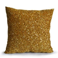 Gold Sequin Pillow Cover Holiday Decor - Love is the only gold