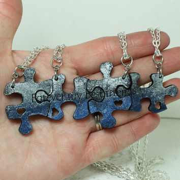 Puzzle Pieces 4 piece Leather Necklace Set Forever my best friends Ready To Ship