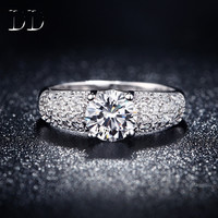 wedding engagement 925 sterling silver ring for women cz diamond jewelry gift for girl bijoux four claw Rings bague femme DD024