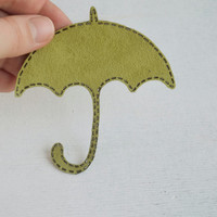 Patch iron on applique umbrella green for girl sale