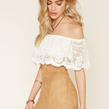 Embroidered Mesh Crop Top