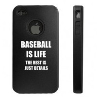 Apple iPhone 4 4S Black D4426 Aluminum & Silicone Case Cover Baseball is Life
