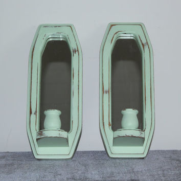 Pair of shabb ymint green painted wood mirrored candle sconces - Wall sconces, mint green decor, distressed mirror, candle holders