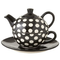 Black & White Polka Dot Tea-For-One