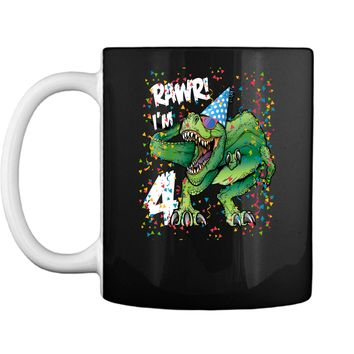 Kids Rawr Im 4 4th Birthday Dinosaur Shirts Boys Dinosaur Gift Mug
