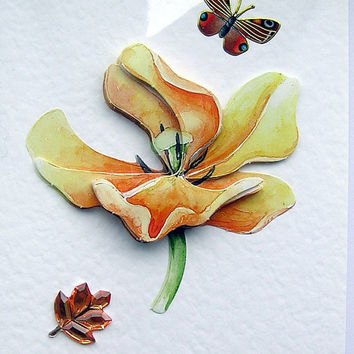 Flower Hand-Crafted 3D Decoupage Card - Blank for any Occasion (1488)