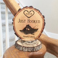 Rustic Fishing Wedding Cake Topper, Just Hooked Topper, Fish Hook Cake Topper, Custom Cake Topper, Wood Slice Topper, Cake Top, Rustic Decor