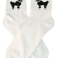 Hip Hop 50s Shop Womens Bobby Sock W/Poodle Applique