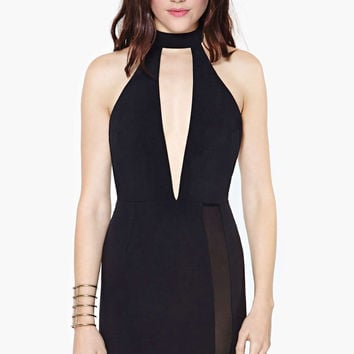 Black Halter Mesh V-Neck Bodycon Dress