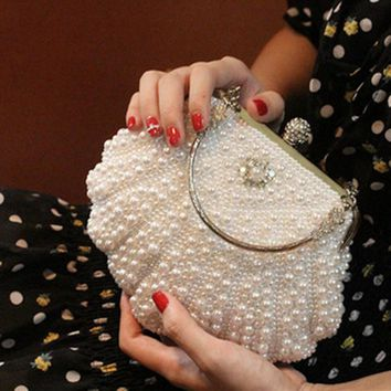 Two Sided Beaded big size Fashion women Pearl Evening bags Women Elegant Clutch Gorgeous Bridal Wedding Party Bag Free Shipping