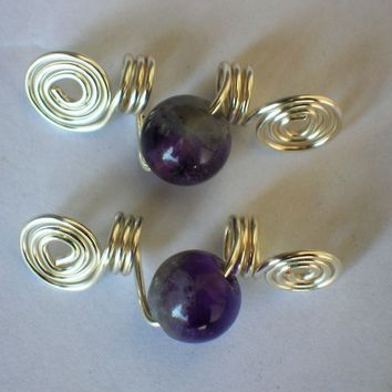 One Pair Dreadlock, Sisterlocks Jewelry - Non Tarnish Silver and Amethyst