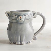 Gray Cat Stoneware Mug