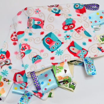 Baby Tag Blanket - Little owls for baby  girl or boy!