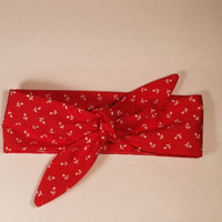 Dolly Headband, Tie-Up Hairband, Red with White Flowers
