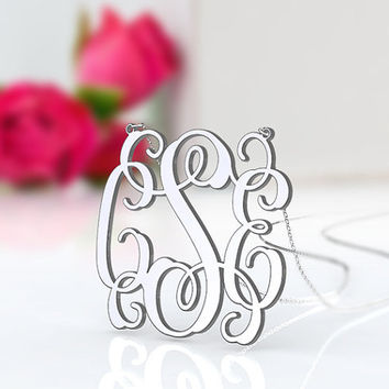 Girl's name necklace 1.5 inch monogram silver--personalized 3 initial jewelry custom necklace