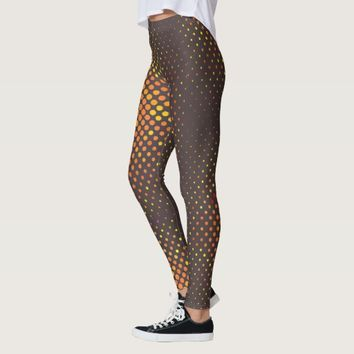 Pattern Deep Grey with Orange dots Yoga Legging
