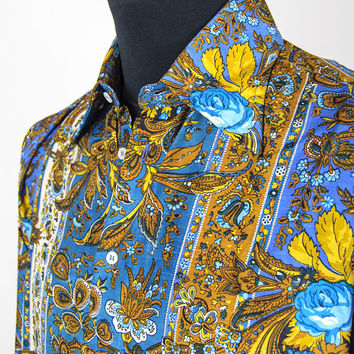 "Vintage Blades Paisley Silk Mens Shirt Blue Mustard Yellow 15"" Collar 1970s Style Floral"