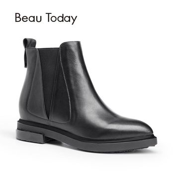 BeauToday Genuine Leather Chelsea Boots Women Fashion Pointed Toe Elastic Band Ankle Calf Leather Shoes Handmade 05103