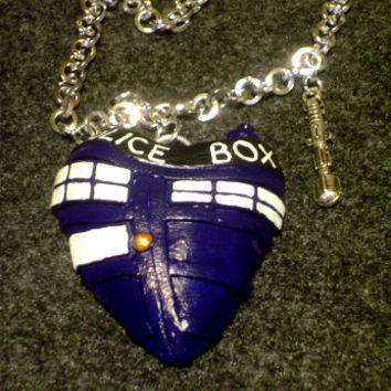 TARDIS heart pendant necklace Doctor Who sonic screwdriver polymer clay