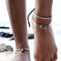 Anklet / Bracelet - Silver beaded with Charms