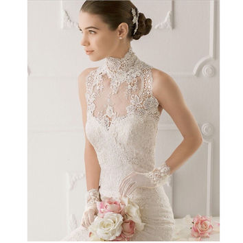 Sexy Sleeveless Lace High Collar Lace Wedding Bride Bolero/Shrugs Bridal Wedding Jackets 2016