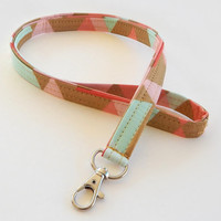 Coral Lanyard / Geometric / Coral & Teal / Key Lanyard / ID Badge Holder / Fabric Lanyard / Gold Lanyard / ID Lanyard / Pretty Lanyards