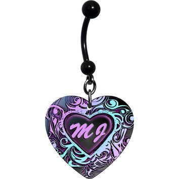 Custom Pink Blue Tribal Heart Personalized Initials Dangle Belly Ring