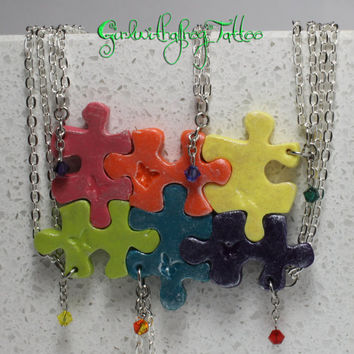 Rainbow Puzzle Pieces 6 Interlocking Necklaces  Polymer Clay Set With Crystals Set 176
