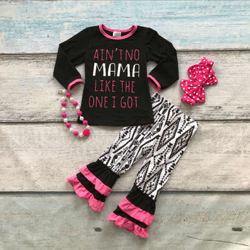 baby girls fall boutique outfits girls AIN'TNO MAMA Like the one I got clothing children hot pink ruffle pant with accessories