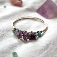 WARRIOR STONE BANGLE - Brass Bracelet Rough Amethyst Apatite - Charlie Girl Gems