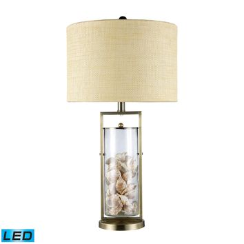 D1978-LED Millisle LED Table Lamp In Antique Brass And Clear Glass With Shells - Free Shipping!