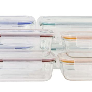 16-Piece Glass Storage Containers with Lids - CASE OF 2