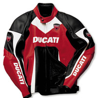 Handmade Men's Motorcycle Stylish Multi color Ducati Motorbike leather jacket