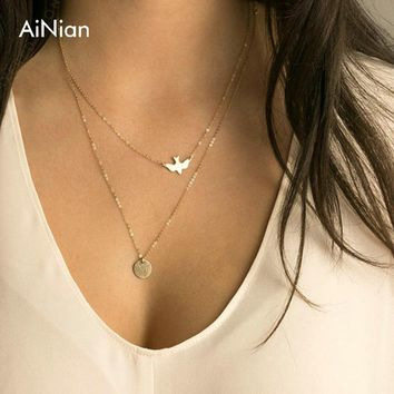 Boho Choker Necklace Silver Fashion Chain Beads Metal Discs Jewelry Pendants Multi Layer Necklace Gold Necklaces For Women