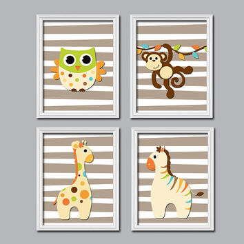 Boy Wall Art Nursery Canvas Artwork Child Jungle Animal Beige Brown Giraffe Owl Zebra Monkey Monogram Name Set of 4 Prints Crib Baby Room