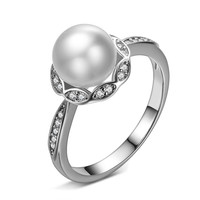 New 2016 High Quality Fashion Imitation Shell Pearl (gold silver) 925 Sterling Silver Engagement Rings for Women Jewelry Gift