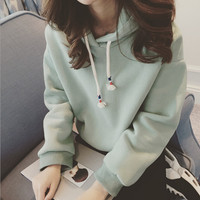 Fashion hooded long-sleeved sweater