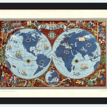World Map Air France Poster