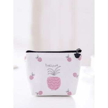 Pineapple Print Coin Pouch