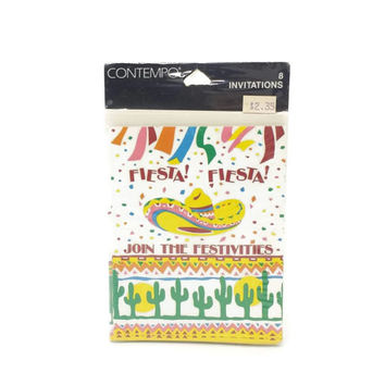 Vintage Fiesta Party Invitations, NOS, 80s 90s, Retro, Dinner, Birthday, Pool, BBQ, Sombrero, Cactus, Sunset, Aztec, Southwest, Confetti